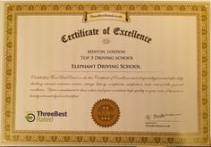Elephant Driving School Limited is delighted to have received an Excellence Certificate from Three Best Rated based on our extensive customer reviews, ratings and history as well as our clients' satisfaction and trust in our services. Three Best Rated acknowledged the commitment to our values and Consider This' consistent high quality in our area of business. .