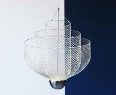 atelier rick tegelaar layers meshmatics chandelier for dutch design week Cool Lighting, Lighting Design, Lamp Light, Light Up, Lamp Design, Contemporary Design, Layering, Chandelier, Ceiling Lights