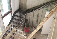 Floating Cantilevered Stairs Detail Miami fabricators, inc. Cantilevered Stairs Detail, Stair Detail, Staircase Railings, Floating Stairs, Steel Structure, Civil Engineering, Under Construction, Ladder, Interior Design