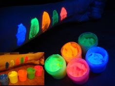 5 x 0.25 oz Fluorescent UV black light glow body face paint set (blue, yellow, orange, green, red). $8.99, via Etsy.