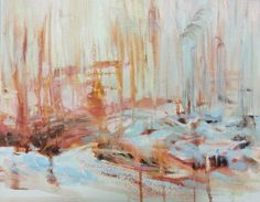 """""""Winter Sun"""" impressionist landscape oil painting by Heidi Hjort. Reed on the snowy shore of Vaasa, Finland. The light so bright it almost hurts your eyes. A blog post on daring to leave a painting looking rather unfinished."""