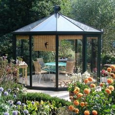 Glazen Theehuis A 378 in donkerblauw gecoat Gazebo, Outdoor Structures, Space, Hu Ge, Floor Space, Kiosk, Pavilion, Cabana, Spaces