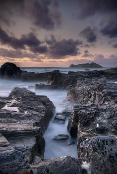Sunset at Godrevy Lighthouse - Cornwall