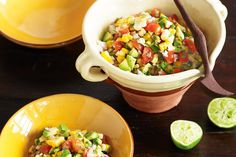 This corn and avocado side salad adds a splash of Mexican colour and flavour to the dining table.