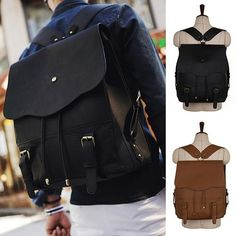 Korean Fashion style Mens Backpack School bag Bookbag Vintage Faux leather kpop