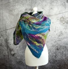 Felted Scarf Shawl, Cobweb, merino wool, violet, green, teal, yellow, pink -Feltmondo by Feltmondo on Etsy