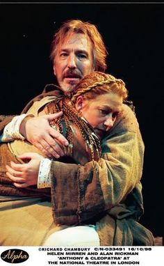 Alan #Rickman in the National Theatre London with goddess Helen #Mirren in 'Anthony and Cleopatra' 1998