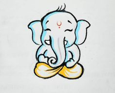 Wonderful Photographs ganpati drawing for kids Strategies Offer kids a stack of document and also a box associated with crayons, and there is a high probability they will be ple Ganesha Sketch, Ganesha Drawing, Lord Ganesha Paintings, Ganesha Art, Cool Art Drawings, Pencil Art Drawings, Art Drawings Sketches, Hare Krishna, Krishna Art