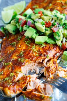 Chipotle Lime Salmon with Avocado Salsa. Only a few ingredients are needed for this healthy salmon recipe and they are all clean eating approved! Pin now to make this healthy seafood dish for dinner later. Lime Salmon Recipes, Fish Recipes, Seafood Recipes, Mexican Food Recipes, Cooking Recipes, Healthy Recipes, Vegan Salmon Recipe, Grilled Salmon Recipes, Carne Asada