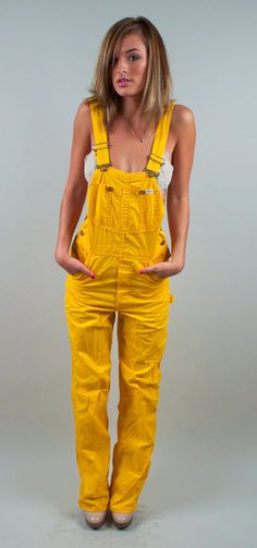 Vintage Yellow Overalls mustard bib by VonVixenVintage I had these in the but I wore more of a shirt under it, left on or both buckles undone, and they weren't as wrinkly as these. Denim Overalls, Dungarees, Vintage 70s, Hippie Boho, Cover, Mustard, Jumpsuit, Yellow, My Style