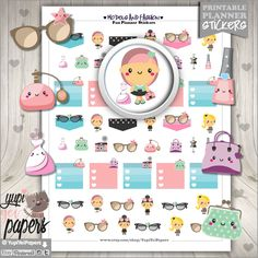 Fashion Stickers, Planner Stickers, Planner Girl, Erin Condren, Kawaii Stickers, Planner Accessories, Printable Stickers, Glasses Stickers