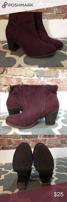 NWOT Maroon Booties Adorable and unique maroon booties, like new! Perfect for the fall! Shoes Ankle Boots & Booties