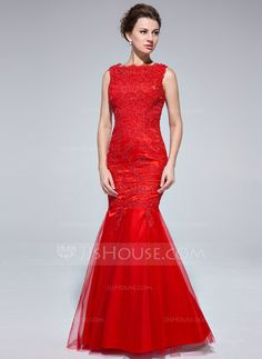 Trumpet/Mermaid Scoop Neck Floor-Length Tulle Evening Dress With Lace (017025685) - JJsHouse