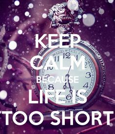 KEEP CALM BECAUSE LIFE IS TOO SHORT - KEEP CALM AND CARRY ON Image Generator - brought to you by the Ministry of Information