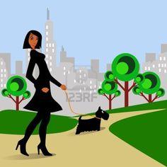 African American woman walking Scottie