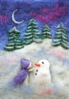 Building a snowman in a frosty winter night. Sweet little print in A5. Click through for more information! #winternightart #wintersnightart # winterartprint #artprint #feltartprint #winterwallart #winterwalldecor #cutewinterart #winterprints #winterdruck #etsyartist Pop Up Christmas Cards, Christmas Paper Crafts, Holiday Crafts, Winter Art, Winter Night, Diy Home Crafts, Crafts To Do, Moon Tapestry, Felt Pictures