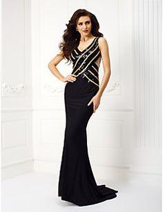 Evento Formal / Festa de Gala Black-Tie Vestido - Costas Lindas Sereia Quadrado Cauda Corte Microfibra Jersey com Renda