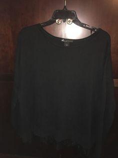 Womens Plus Size 18 20 Soft Cotton Blend Black Pullover Tunic Sweater Lace  Hem  2ccc8466e4f66