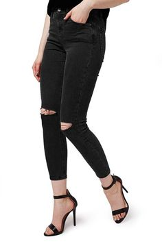 Topshop Moto 'Jamie' Ripped Skinny Crop Jeans available at #Nordstrom