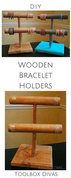 Wooden Bracelet holder Jewelry holder DIY @ToolboxDivas #Jewelry Necklaces and bracelets