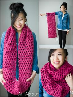 Long Crochet Double Cowl - 10 Super Chunky Free Crochet Cowl Scarf Patterns | 101 Crochet