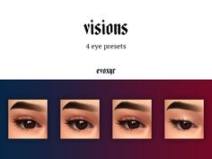 evoxyr: visions eye presets ☽ a pack of — Ridgeport's CC Finds. Sims 4 Cc Eyes, Sims 4 Mm Cc, Sims Four, Sims 4 Body Mods, Sims 4 Game Mods, Sims 4 Mods Clothes, Sims 4 Clothing, Maxis, The Sims 4 Skin