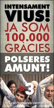 La pàgina a Facebook de Polseres Vermelles arriba a 100.000 seguidors. Seguim intensament vius :,) http://goo.gl/TaIUg