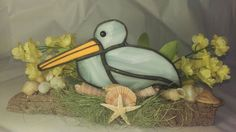 Stained Glass Pelican on Driftwood with by SunshineSuncatchers