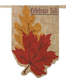 Loving this Burlap 'Celebrate Fall' Leaves garden flag on #zulily! #zulilyfinds