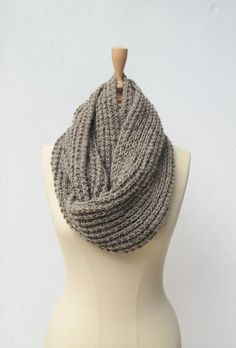 hand knitted taupe brown infinity scarf