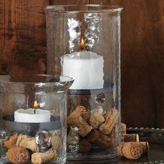 Finally found a simple way to use up those corks!  Cast a rustic-chic glow over your decor with this charming candleholder, the perfect finishing touch to any room.