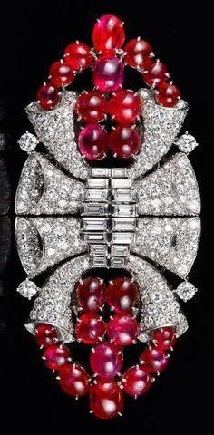 Cartier Art Deco Ruby Doubleclip Brooch.
