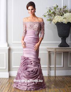 Tolles 3/4 Arm Abendkleid in Lila Flieder von www.online-mode.biz