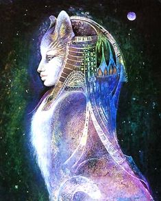 """Bast"" by Susan Seddon Boulet     Bast was an ancient Eygptian goddess who appeared to many with the head of a lion. She was sorshipped in Greek, Roman and Germanic states as well as Egyptian"