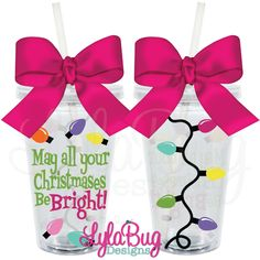 May All Your Christmases Be Bright Acrylic Tumbler Christmas Gifts, Christmas Party Favors LylaBug Designs