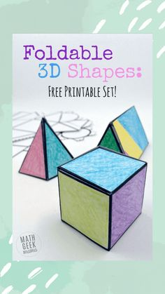 This easy to use printable set of foldable shapes can be used for all sorts of math learning! Plus, let kids get creative and turn it into a math and art lesson in one! Free Math Worksheets, Math Resources, Math Activities, Math Art, Fun Math, Art Lessons For Kids, Math Lessons, Math Projects, Math Crafts
