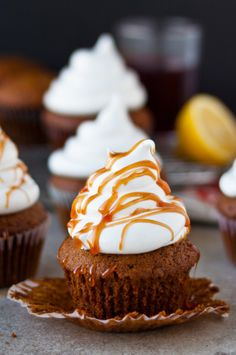 Gingerbread Cupcakes with Marshmallow Frosting + Pomegranate Caramel | bloggingoverthyme.com