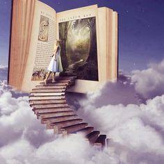 #art #aliceinwonderland #trippy #clouds #books #stairs #Padgram