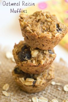 Oatmeal Raisin Muffins. Healthy breakfast or snack. Oil free, egg free, dairy free. No refined sugars or flours.