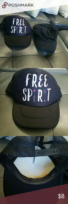2 black hats 2 black hats free spirit and one plain black one...these hats are used and show some signs of wear Accessories Hats