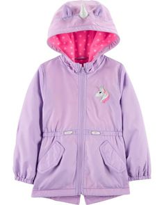 Unicorn Fleece-Lined Water Resistant Jacket Girls Size 10 Clothes, Kids Clothes Sale, Girls Raincoat, Raincoat Jacket, Toddler Boy Outfits, Toddler Girl, Girl Outfits, Cute Rain Jacket, Petite Fille