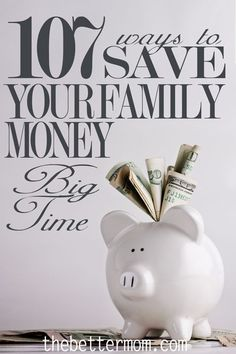 With so many ways to save money, reading all the information can be overwhelming. Here is a comprehensive live of 107 ways you can save your family money big-time. Includes everything from coupons to surviving a layoff to saving money on a baby to bargain