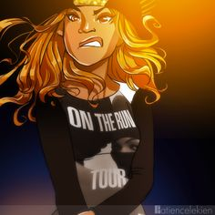 On The Run Tour by PayLe Inspired by Jay-Z and Beyoncé's most recent tour. This was a quick sketch that I decided to color. It actually started off as a Proud Family scene featuring Beyonce, but it took a drastic turn, lol. Hope you enjoy it. P.S.- I heard the concert is dope tho, so check it out if you can IG: plekien