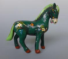 """Old vintage Mexican Tlaquepaque papier paper mache horse by SERMEL 7 1/2"""" long"""