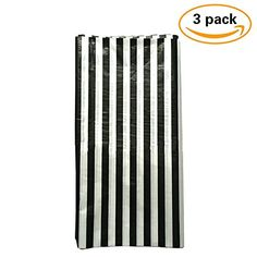 Exceptionnel Pack Of 3 Plastic Black And White Stripe Print Tablecloths   3 Pack   Party  Picnic