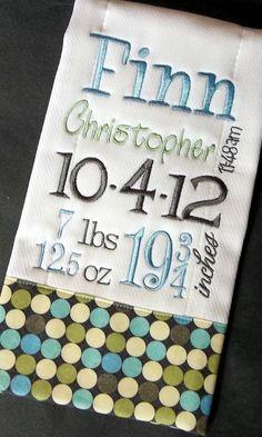 Birth Record Burp Cloth for Baby Boy. $16.00, via Etsy.