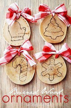 Diy - Burned Wood Christmas Ornaments