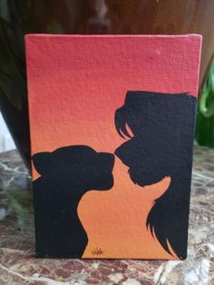 Lion Canvas Painting Ideas - Art of Lions . Lion Canvas Painting Ideas - Art of Lions . Lion Canvas Painting Ideas - Art of Lions . Disney Canvas Paintings, Disney Canvas Art, Simple Canvas Paintings, Cute Paintings, Acrylic Painting Canvas, Acrylic Art, Sunset Paintings, Paintings Of Couples, Ideas For Canvas Painting