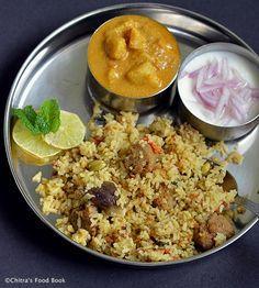 Coimbatore special Angannan biryani with Soya chunks - Vegetarian version !