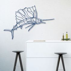 Unique wall art piece by Antoine Tes-Ted for Design. Handcrafted in France from sustainable materials, this design is part of an ocean-inspired wall sign collection. 3d Wall Decor, 3d Wall Art, Wooden Wall Art, Wooden Walls, Metal Wall Art, Wooden Signs, Wall Décor, Cosy Home, Simple Line Drawings